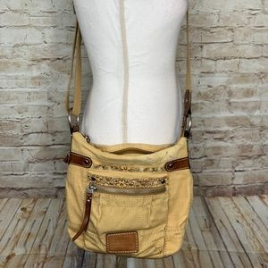 Fossil Crossbody Bag yellow fabric leather medium